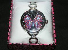 BETSEY JOHNSON TIMEPIECES BLING TIME BUTTERFLY DIAL WATCH SILVERTONE BLACK PINK #BetseyJohnson #Fashion