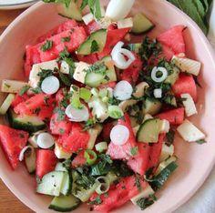 Salad-e Panir o Hendevaneh - persischer Wassermelonensalat - Labsalliebe - Essen Oats Recipes, Clean Eating Recipes, Cooking Recipes, Healthy Recipes, Lacto Vegetarian Diet, Ovo Vegetarian, Foods High In Iron, Watermelon Salad, Dried Beans