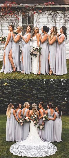 cheap grey chiffon long bridesmaid dresses,counrty a line wedding party dresses with splits #dressestime #weddingideas #bridesmaids