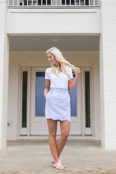 Navy Scalloped Skirt! http://www.laurenjames.com/collections/skirts/products/scallop-seersucker-skirt