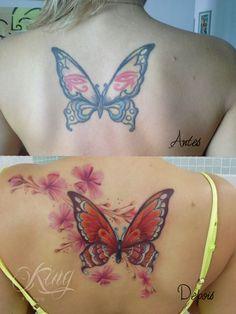 butterfly borboleta after/before cover up  color tattoo colors ink tatuagem colorida tattoo  fabio king brazilian tattoo