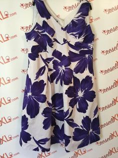 ab066243076 Jones New York Size 16W Purple and White Floral Printed Dress