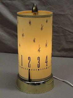 Mid-century Spartus 665 revolving motion clock lamp