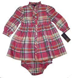 NWT Ralph Lauren Baby Girls Cotton Plaid Cotton Shirtdress & Panty Outfit Set #RalphLauren #DressyEverydayHolidayPageantWedding