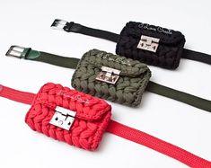 Khaki waist bag Fanny pack T-shirt yarn hip bag Boho accessories Eco friendly small belt bag Boho waist bag Vegan belt bag Sister gift - This is a crochet khaki bum bag from T-shirt yarn fabric. The small belt purse will be a unique gir - Crochet Backpack, Bag Crochet, Crochet Handbags, Crochet Purses, Backpack Pattern, Crochet Fabric, Crochet Cross, Crochet Gifts, Crochet Pattern