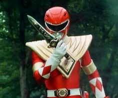 Red Ranger and gold chest plate