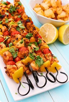 {spicy chicken kebabs with lemon potatoes}