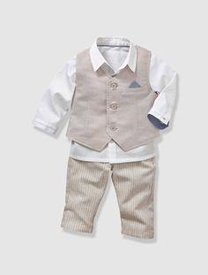 Conjunto de 3 prendas ceremonia bebé niño GRIS CLARO LISO