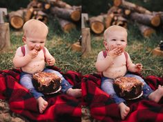 Outdoor lumberjack cake smash session with Julia Marie Photography in St. Louis, Missouri.