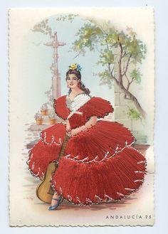 Embroidered silk fabrics Spain flamenco dance ethnic dress 1960s postcard gt27