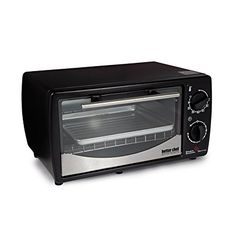 Better Chef 9 Liter Toaster Oven Broiler- Black With Stainless Steel Front* High-efficiency quartz heating elements* Bakes, broils, toasts and roasts* c Small Kitchen Appliances, Kitchen Countertops, Kitchen Small, Countertop Convection Oven, Grill Rack, Tempered Glass Door, Best Chef, Specialty Appliances