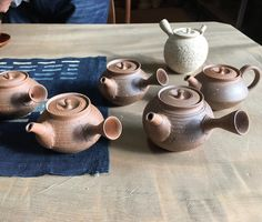Mr. Hokujo was testing new Nanban teapots made of clay mixed with small grains which were extracted from Kaolin.  #ceramics #pottery #teapot #kyusu #kyuusu #teatime #greentea #sencha #tea #japaneseceramics #japanesepottery #wabicha #wabipot #tokoname