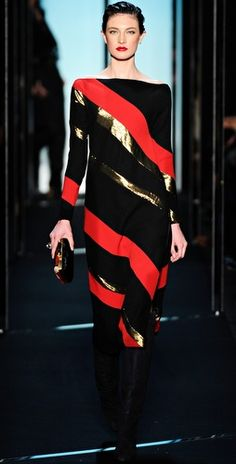 Tacky-glam DVF gold and red striped dress <3