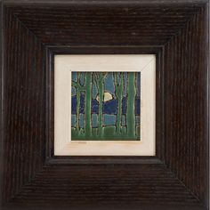"""Grueby Faience Company, Moonlit Landscape tile, Boston, MA, polychrome glazed pottery, impressed signature, framed, tile: 4""""sq; overall: 11""""sq"""
