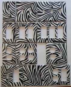 Zebra Stripe impression Motif noir & blanc interrupteur prise - 4€