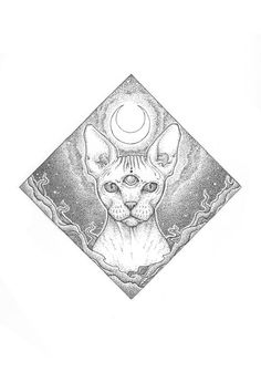 "Space Sphynx Art Print 7x10"""