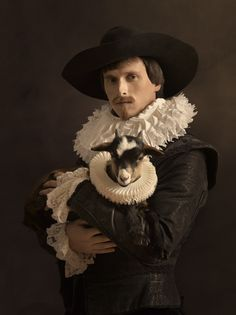 Photographer : Sacha Goldberger - portrait with animals - Flemish painting... Flemmish painters were Masters of oil medium and they are particularly noted for their realism in their paintings...