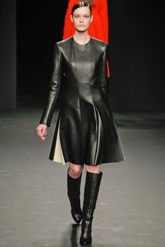 fcafafb52f509 Calvin Klein Collection Fall 2012 leather seamed dress Leather Dresses