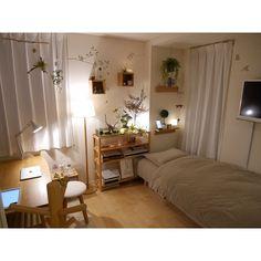 Small room design – Home Decor Interior Designs Bedroom Green, Bedroom Decor, Nature Bedroom, Bedroom Plants, Bedroom Ideas, Deco Studio, Room Interior, Interior Design, Appartement Design