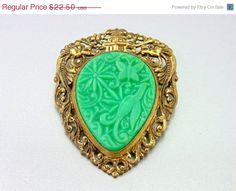 20% OFF - HUGE SALE Vintage Faux Jade Chinese Export Brooch and Pendant. Birds, Twin Dragons, Garden.Vintage Brooches.(Sale) on Etsy, $15.00