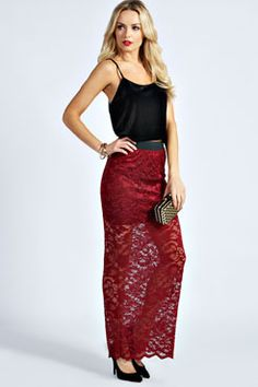 sheer lace and maxi skirt are perfect.