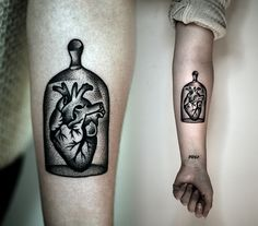 #heart in the #belljar #tattoo by Kamil Czapiga.