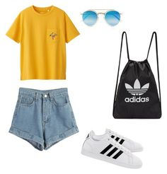 """day out look #10"" by kiwiid on Polyvore featuring Uniqlo, adidas, WithChic, adidas Originals and Ray-Ban"