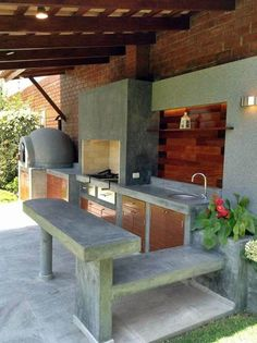 10 Amazing Diy Grill And Bbq Island Plans - House & Living Modern Outdoor Kitchen, Outdoor Kitchen Bars, Outdoor Spaces, Outdoor Living, Outdoor Decor, Indoor Outdoor, Grill Diy, Dirty Kitchen, Kitchen Floor