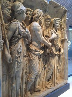 Casts from the Arch of Trajan at Beneventum AD114 The Gods of Rome - Jupiter with thunderbolt flanked by Minerva and Juno, with Hercules, Ceres, Bacchus and Mercury in the background.