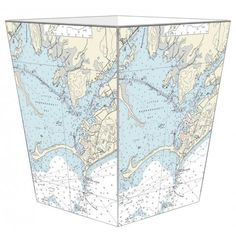 THE WELL APPOINTED HOUSE - Luxuries for the Home - THE WELL APPOINTED HOME Watch Hill Nautical Chart Decoupage Wastebasket #homedecor #decorate #map