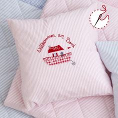 Kissen Willkommen an Bord rosa