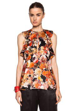 Tropical patern frill top maxi dress