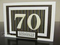 "Stampin Up Demonstrator - Lynne Fahey (Spiralz and Curlz): 70th Birthday card using ""Mocha Morning"" DSP"