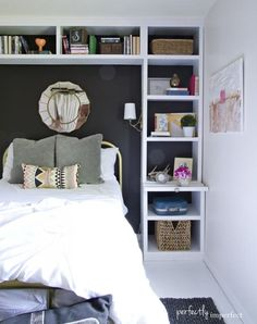 """Emily A. Clark - design. simplified. I like this idea of putting shelving around the bed to form a little """"nook"""" for the bed. It would be cute in a girls room."""