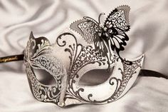88f2f13348 Masquerade Mask with Filigree Metal Butterfly - TERESA SILVER. Available in  many colours with gold or silver trim