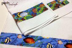 asciugamani in piquet di cotone, leggere, con applicazione under the sea