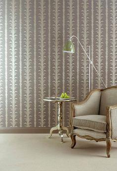 Little Greene Lauderdale - Truffle Metallic Wallpaper, Striped Wallpaper, Home Wallpaper, Little Greene, Piece A Vivre, Traditional Wallpaper, Decoration, Truffles, Furniture Design