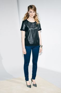 Halogen® Leather & Knit Top, KUT from the Kloth Skinny Jeans  available at #Nordstrom