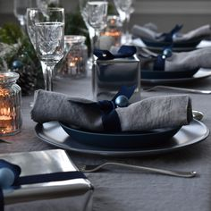 Christmas Tablescapes can be almost any colour theme, pair dark shades with neutrals and rich Grey Linen with Deep Navy to add warmth to your table Grey Tablecloths, Linen Tablecloth, Linen Napkins, Table Linens, Christmas Table Linen, Christmas Napkins, Christmas Tablescapes, Dark Shades