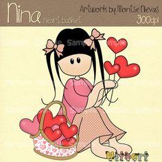 Heart basket Nina dolls 0189 digital clip art set by Withart, $2.50