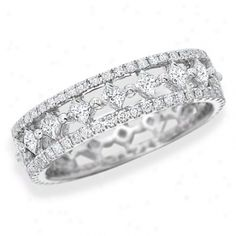 18k White Gold Diamond Eternity Ring With Pave Edges And Center Princess-cut Diamonds, 5.5mm Wide, 1.97 Ctw