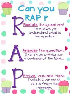 Can you rap?RestateAnswerProve Great for a visual reminder to help students answer comprehension questions. Check out all my corresponding Themes in my store!