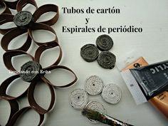 Corona con tubos de cartón y rollitos de periódico . 2 técnicas en 1 | Aprender manualidades es facilisimo.com