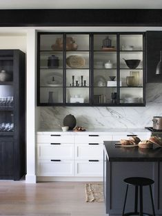To make the kitchen decoration becomes more attractive, sometimes you need the glass kitchen cabinet doors to display. Choosing the glass front design. Backsplash With Dark Cabinets, Refacing Kitchen Cabinets, Modern Kitchen Cabinets, Upper Cabinets, Kitchen Backsplash, White Cabinets, Kitchen Modern, White Counters, Kitchen Island
