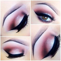 Mauve /white glitter eye shadow and wide pronounced black eye liner with it looks like big bold false lashes...