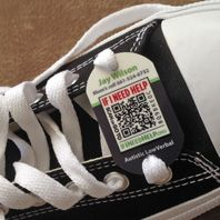 If I Need Help - Shoe tags with scan-able codes with emergency information on child with special needs
