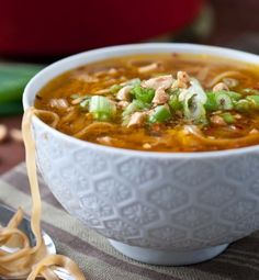 Pad Thai Soup. Quick, easy, healthy, gluten free and even a vegan option. Perfect!