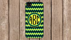 Personalized Monogram Chevron Green Black Yellow for iPhone 4/4s/5/5s/5c Samsung Galaxy S3/S4/S5/Note 2/Note 3 by TopCraftCase, $6.99