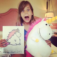 Pure joy- and quite a bit of shock- was the reaction this girl had when her mom surprised her with a plush version of her plump unicorn drawing! :) #Cute