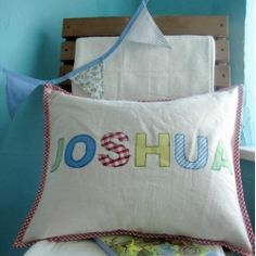Personalised Boys Cushion by Sew Ray Me for From the Wilde